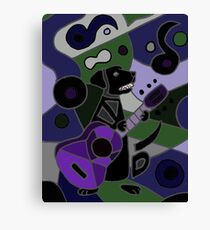 Cool Funny Black Labrador Retriever Playing Guitar Canvas Print