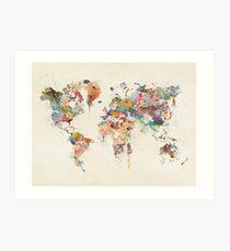 world map watercolour Art Print