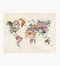 world map watercolour Photographic Print