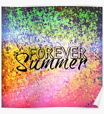 FOREVER SUMMER Happy Rainbow Colorful Typography Abstract Painting Poster
