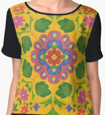 Floral Rangoli Pattern on Yellow Chiffon Top