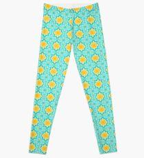 Yellow Venetian Tile Pattern Leggings