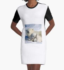 Polar bear cubs playing together Graphic T-Shirt Dress