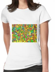 """""""BOINGO"""" animal doodle colour cartoon Womens Fitted T-Shirt"""