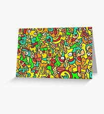 """BOINGO"" animal doodle colour cartoon Greeting Card"