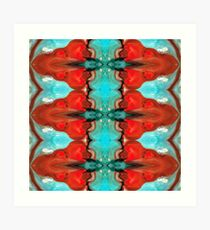 Color Chant - Red And Aqua Pattern Art By Sharon Cummings Art Print