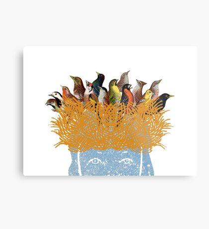 Bird nest head Metal Print