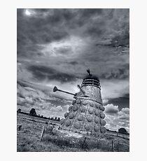 Straw Dalek b&w Photographic Print