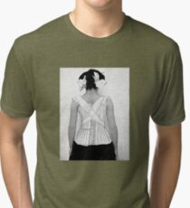Mysterious Vintage Woman in Corset Tri-blend T-Shirt