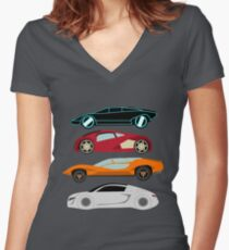 The Car's The Star: Future Cars Women's Fitted V-Neck T-Shirt
