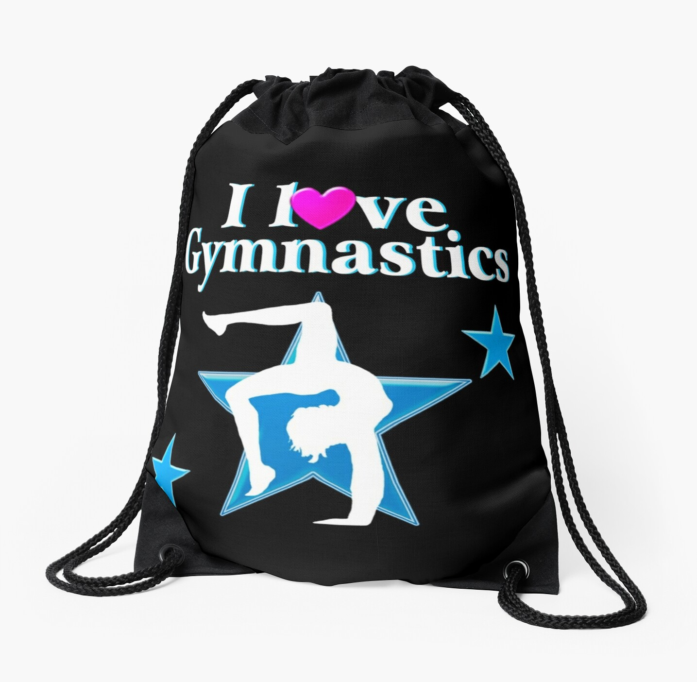 BLUE AND BLACK I LOVE GYMNASTICS