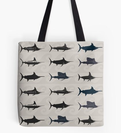 Marlin Billfish Print Throw Pillow Tote Bag