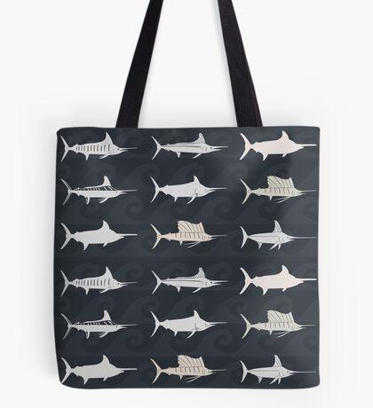 Marlin Billfish Print Throw Pillow - Dark Tote Bag
