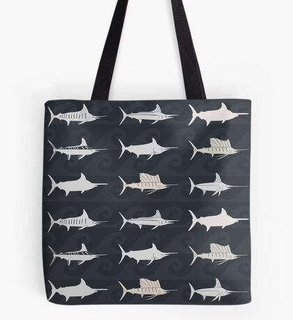 Marlin Billfish Print Throw Pillow - Dark Tote Bag