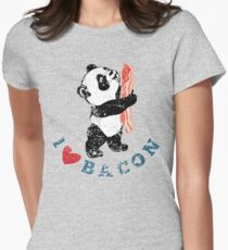 I Love Bacon - Panda Womens Fitted T-Shirt