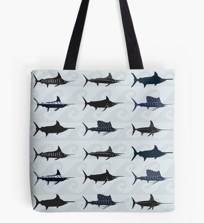 Marlin Billfish Print Throw Pillow - Blue Tote Bag