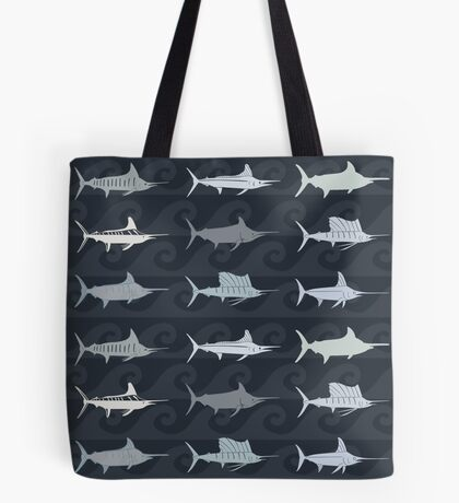 Marlin Billfish Print Throw Pillow - Dark Navy Tote Bag