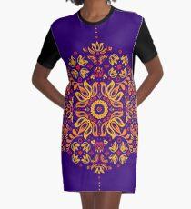 Fiery Floral Folk Pattern Graphic T-Shirt Dress