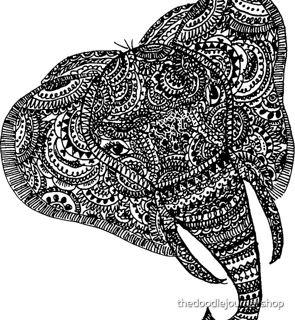 elephant by thedoodlejournal shop