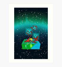 Boxy Planet of Gems Art Print