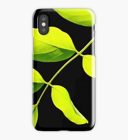 Lime Leaves on Black iPhone Case/Skin