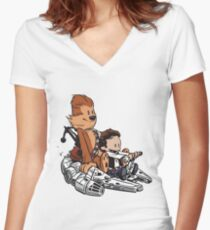 Chewie And Han Calvin And Bobbes Women's Fitted V-Neck T-Shirt