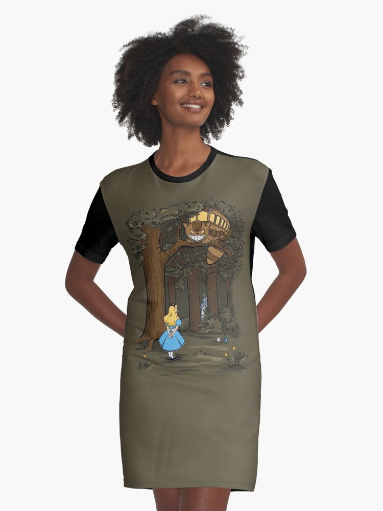My Neighbor in Wonderland (Army) Graphic T-Shirt Dress Front