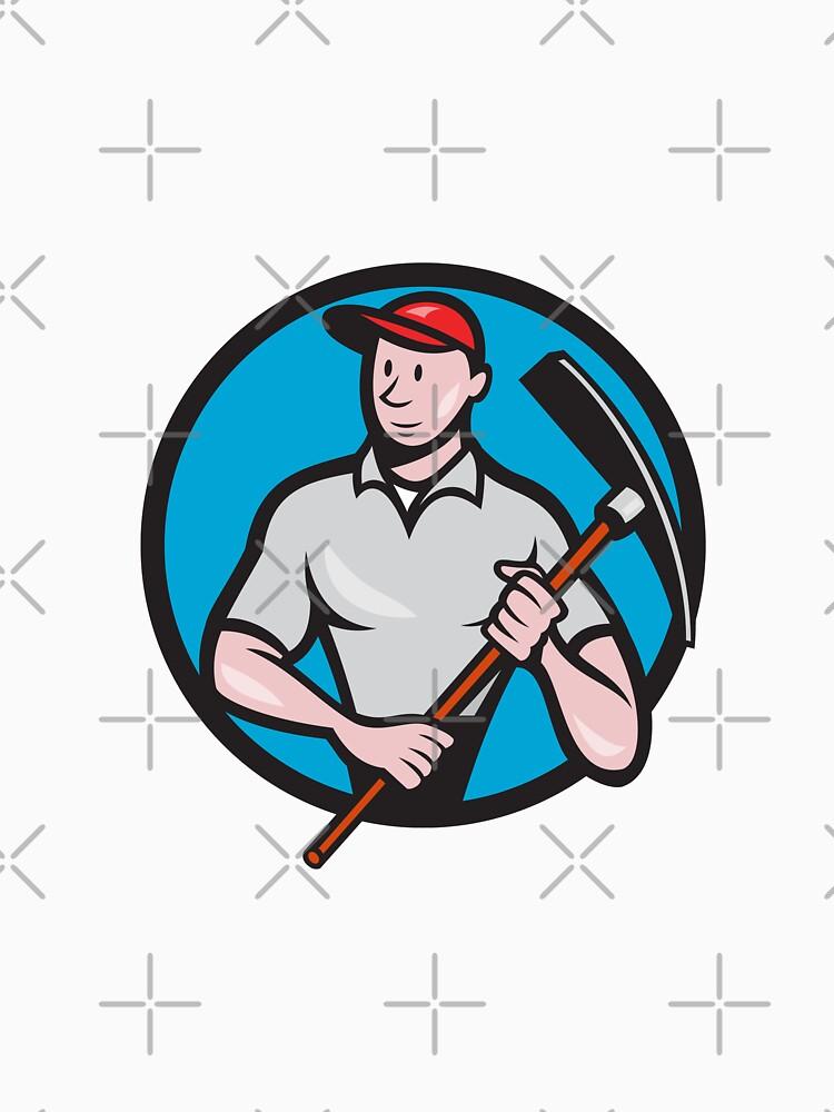 Construction Worker Pickaxe Circle Cartoon by patrimonio