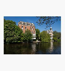 Amsterdam Canal Mansions - Floating By on a Boat Photographic Print