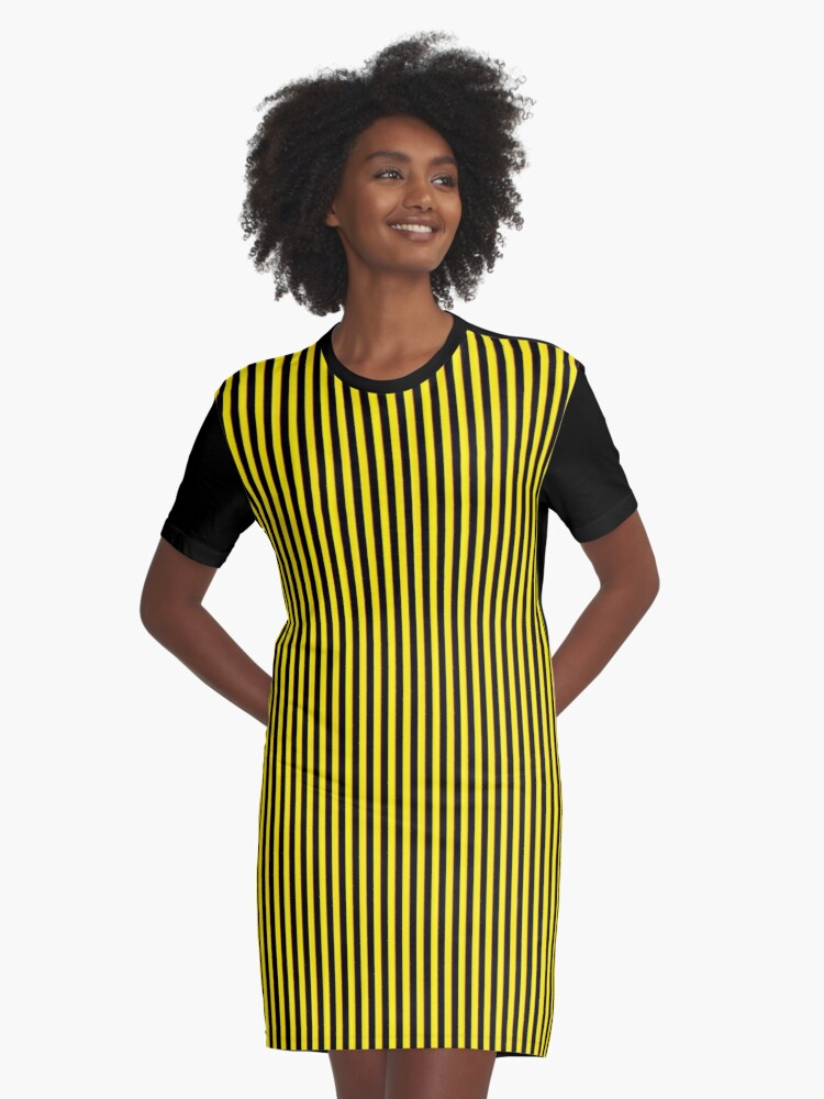 Vertical Stripes Yellow Black and Red Graphic T-Shirt Dress Front