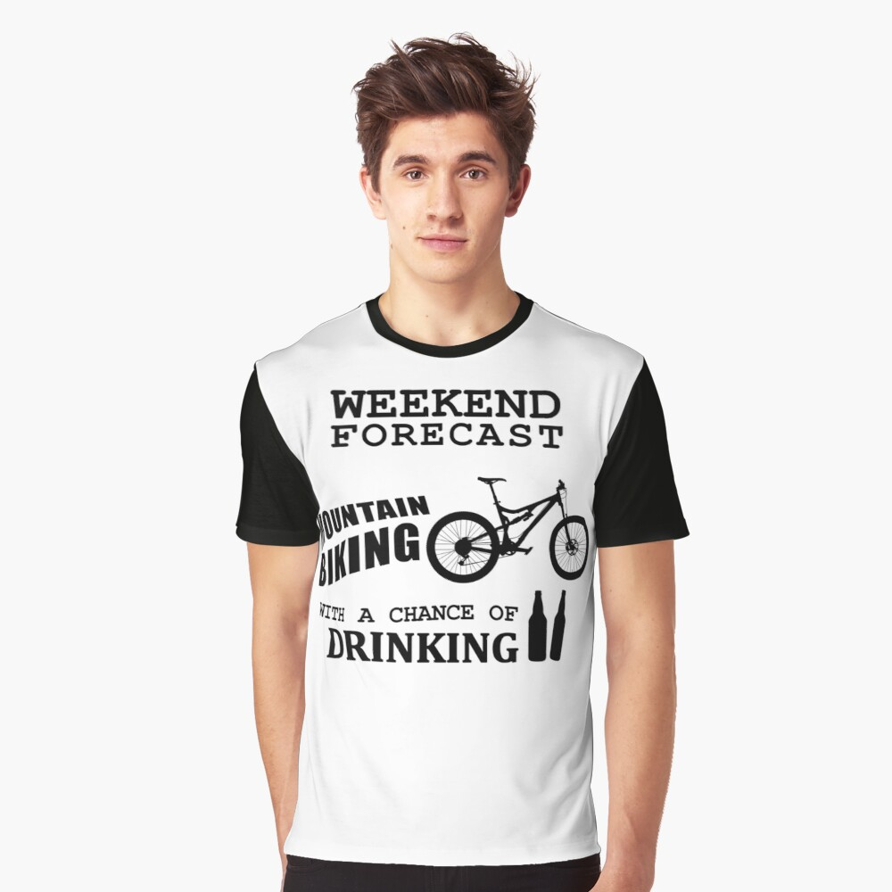 Funny Mountain Bike and Drinking Graphic T-Shirt Front