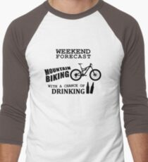 Funny Mountain Bike and Drinking Men's Baseball ¾ T-Shirt