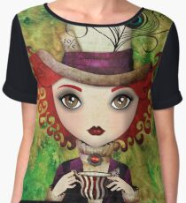 Lady Hatter (w/background) Women's Chiffon Top