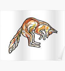 Geometric Leaping Fox Poster