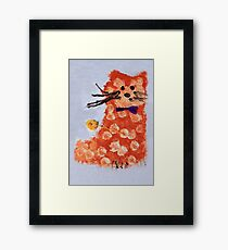 drawing  ginger cat with bow Framed Print