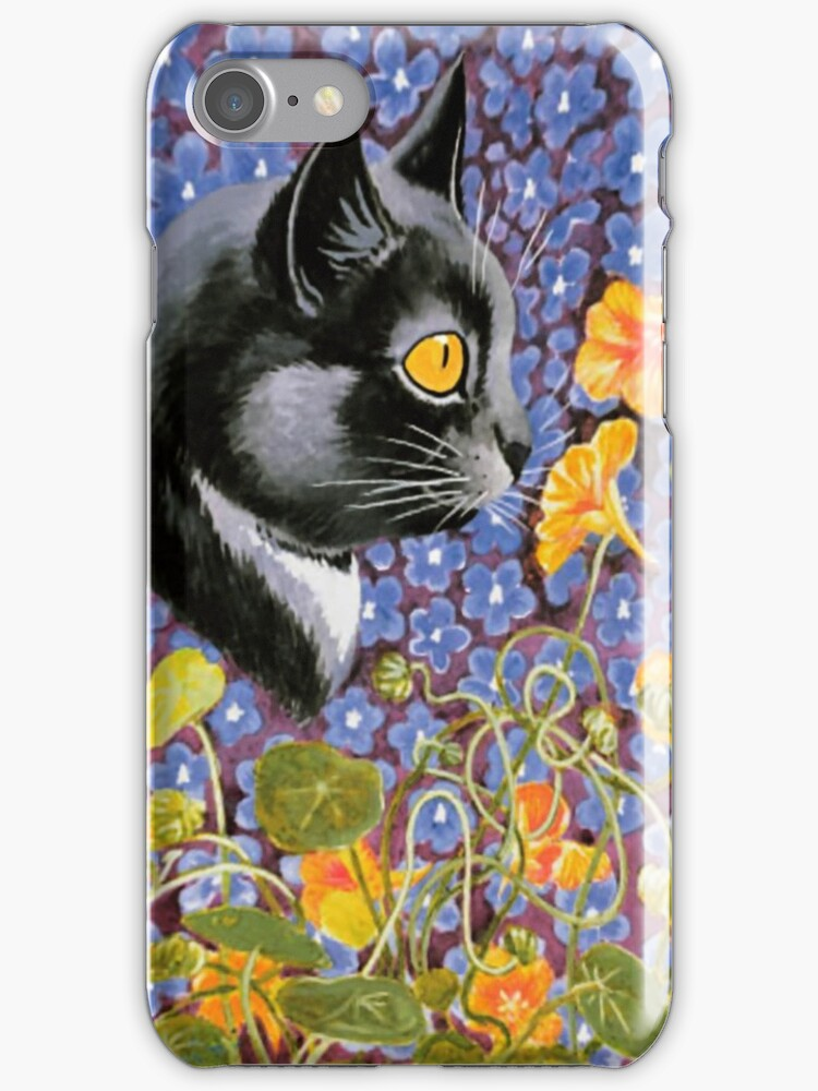 Vintage Louis Wain Cat in a Sea of Flowers by simpsonvisuals