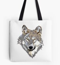 Gray Timber Wolf Tote Bag
