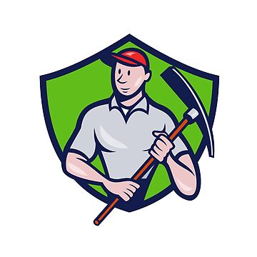 Construction Worker Pickaxe Crest Cartoon by patrimonio