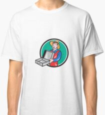 Man Holding Empty Open Suitcase Circle Cartoon Classic T-Shirt