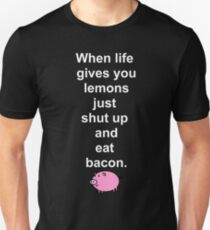 f009205c7 Shut Up Eat Bacon Lemon Life Pig Ham Cute Cool Geek Retro Cartoon ...