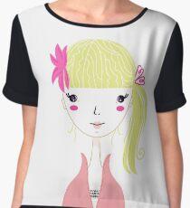 Beautiful Blond Girl isolated on White Chiffon Top
