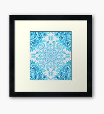 Symmetrical Pattern in Blue and Turquoise Framed Print