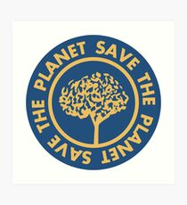 Save the planet hand drawn lettering on clean white background. Retro style calligraphy, motivational phrase for Earth day. For greeting card, logo, badge, print, poster, party designs. Art Print