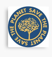 Save the planet hand drawn lettering on clean white background. Retro style calligraphy, motivational phrase for Earth day. For greeting card, logo, badge, print, poster, party designs. Canvas Print