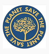 Save the planet hand drawn lettering on clean white background. Retro style calligraphy, motivational phrase for Earth day. For greeting card, logo, badge, print, poster, party designs. Photographic Print