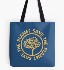 Save the planet hand drawn lettering on clean white background. Retro style calligraphy, motivational phrase for Earth day. For greeting card, logo, badge, print, poster, party designs. Tote Bag