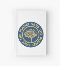 Save the planet hand drawn lettering on clean white background. Retro style calligraphy, motivational phrase for Earth day. For greeting card, logo, badge, print, poster, party designs. Hardcover Journal