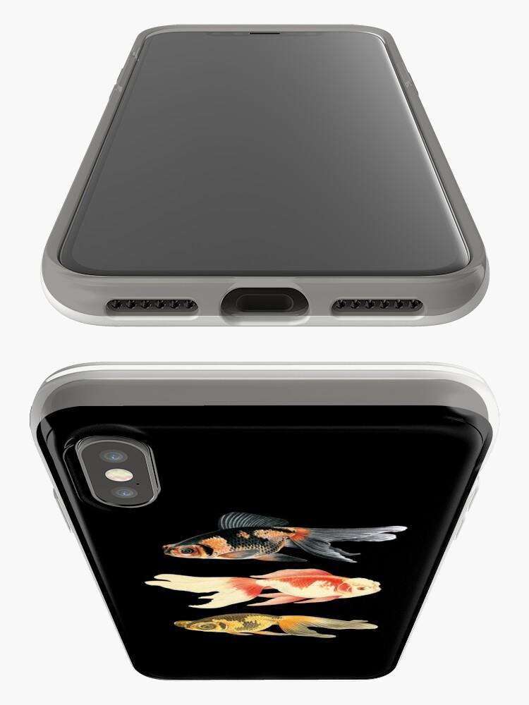 Vista alternativa de Funda y vinilo para iPhone Trío de peces botánicos en negro