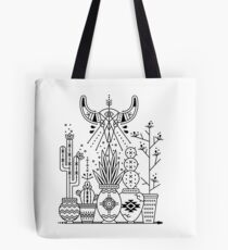 Santa Fe Garden – Black Ink Tote Bag