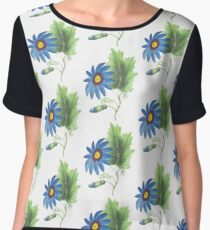 Flower Line Drawing Water Color Chiffon Top